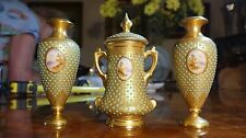 Fabulous 19th Century 3 Piece set of Coalport Jewel Jeweled Vases Landscape HP