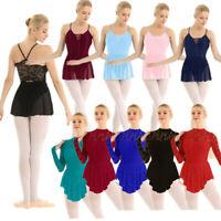 Womens Lace Dance Dress Bodysuit Latin Ballet Leotard Dancewear Skating Costume