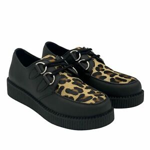 Mens Lace Up Casual Creepers Shoes Teddy Boy Brothel Leather Rockabily Boots Leo