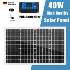 40W 12V Solar Panel Kit Mono 20A Regulator Battery Charge Portable Camping Power