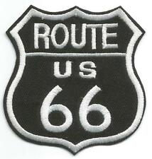 Route US 66 Plaque Style Black & White Cloth Patch - Sew-on / Iron-on Patch