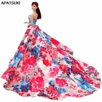 Floral Dress for Barbie Dolls Outfits Clothes 1/6 BJD Dolls Formal Wedding Dress