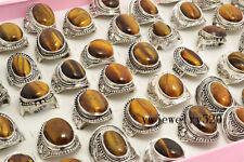 Wholesale Lots Mix 20Pcs Oversize Natural Tiger-Eye Gemstone Silver P Rings FREE