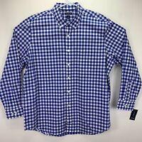 Club Room Mens Plaid Gingham Button Down Long Sleeve Shirt Blue White 2XL