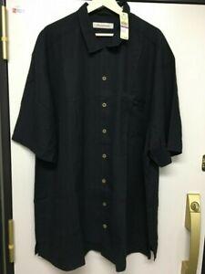NWT $158 New Silk Tommy Bahama Black Embroidered Silk Shirt 2XT Men Free Ship