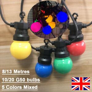 8/13M G50 LED Globe Colored Bulbs IP65 Outdoor Festoon String Lights Gazebo Yard