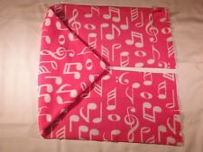 Musical Notes on Pink Fleece Scarf Wide