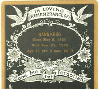 1897-1922 Checks & Funeral Card (Hans Krog 1850-1922) Cedar Falls, IA Bank Death
