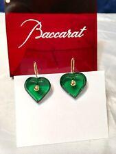 Baccarat A La Folie Crystal & Gold Heart Earrings Emerald 101076 Orecchini NEW