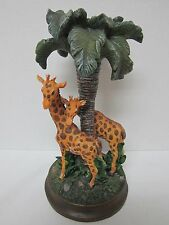 """CANDLE HOLDER ~ GIRAFFE MOTHER & CHILD/BABY 12"""" TALL ON BASE AFRICAN ZOO THEME"""
