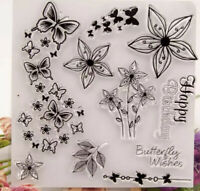 Clear Rubber Stamp Flowers Butterflies Birthday Sentiments Greetings Background