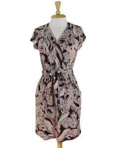 Banana Republic Maroon Gray Paisley Print Faux Wrap Jersey Dress Size XS P