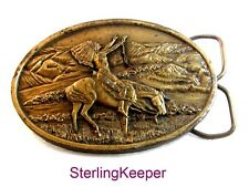 1977 Bergamont Brass Native Americans Prayer Belt Buckle