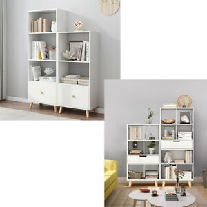 Home 3/4/5 Tier Bookshelf Bookcase Storage Unit Drawer Cube Display Shelf Office