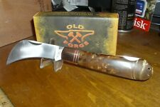 Old Forge, Copper Bolster, Burl Wood Handles, Hawkbill, Lockback Knife, OF024