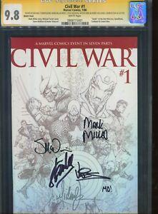 Civil War #1 CGC 9.8 Signed Stan Lee +5 TURNER 1:75 SKETCH VARIANT
