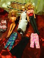lot  3 poupées barbies ,3pantalons garde/robe