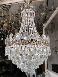 "Antique French Huge Crystal Chandelier Ceiling Lamp Light 1940's 16"" diameter---"