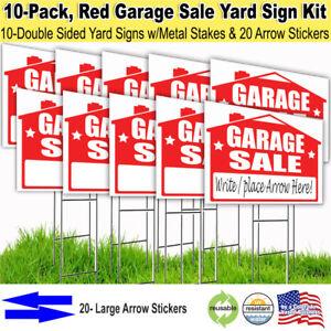 10 Pack 'GARAGE SALE' 18x24 Yard / Lawn Sign Kits