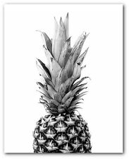 Pineapple Print, Black and White Art, Tropical Pineapple, 8x10 inches, Unframed