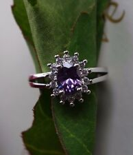NEW 925 STERLING SILVER PURPLE AMETHYST SOLITAIRE WITH ACCENTS RING SIZE 7!!