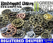 Embossed and COGS and GEARS Steampunk beads - Riveted with screws - findings