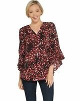 Belle Kim Gravel Womens V-Neck Floral Flutter Sleeve Blouse X-Small Red A310203