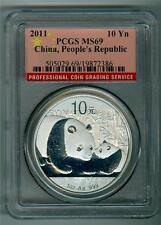 CHINA 2011 10 YUAN 1 OZ. .999 SILVER PANDA PCGS MS-69 GEM BU