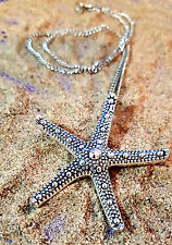 "Starfish Pendant Big Antique Silver on a 28"" Strong Curb Chain Necklace"