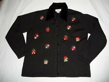 TALBOTS ugly Christmas sweater M medium sequins bead presents velvet collar wool