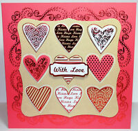 """Kanban Valentines Day 8x8"""" Die Cut Decoupage Card Making  Kit  Inc Toppers"""