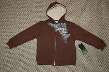 NWT Boys O'Neill Brown Sherpa Lined Hoodie Jacket Small Size 4 Really nice LQQK!
