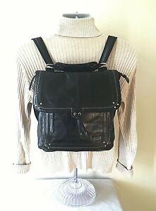 the SAK Ventura Distressed Leather Convertible Backpack Crossbody Bag Black