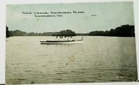 Kankakee Illinois Third Island Kankakee River Victorian Woman Rowing Postcard I4