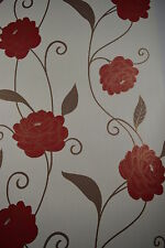 Red And Cream Luxurious Floral Wallpaper With Hint Of Gold 265664