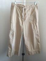 Lauren Ralph Lauren Women's  Beige Tan Cargo Capris drawstring size 10