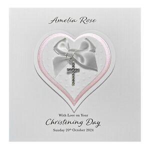 Handmade PERSONALISED Christening Card - Diamanté Cross Charm Heart Girl