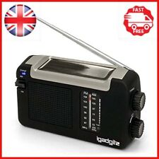 iGadgitz Xtra Wind Up, Solar, & USB Rechargeable Portable AM/FM Radio with 3