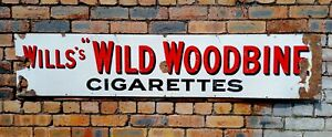 "Will's ""Wild Woodbine"" Cigarettes Enamel Sign - 181.5cm By 38cm - Original"