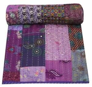 Vintage Patchwork Kantha Bedspread Indian Handmade Quilt Throw silk Blanket boho