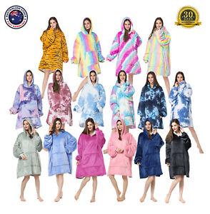 Adults Oodie Blanket Hooded Pyjamas Oversized Fleece Nightware Tie Dye Rainbow