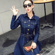 Korean Fashion Woman Autumn New Long Sleeve Solid Casual Denim Shirt Dress