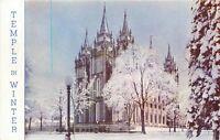 Mormon Tample in winter Salt Lake City Utah UT Postcard