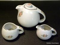 HALL pottery SANI~GRID ROSE WHITE pattern ~ Tea Pot with Cream & Sugar Bowl Set