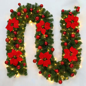 270cm Christmas Garland Green Rattan With Bows LED Lights Christmas Decoration