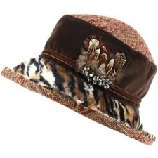 Ladies Hat Cloche Winter Proppa Toppa Feather Tiger Mixed Print Paisley