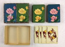 Vtg Pink & Yellow Roses Double Deck Photograph Playing Cards w Jokers by Whitman