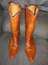 Durango West Men's 7EE Pre Owned Cowboy Boots Light Brown Black Leather Lacing