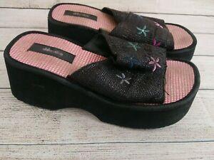 Exhilaration Y2K 90s Chunky Platform Slide Sandals Black Size 7