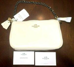 GENUINE COACH Selena Gomez Cream Nolita Wristlet Handbag Purse Clutch Chain Zip